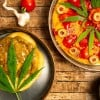 Top Marijuana Snacks. Pizza with pot leaves on it.