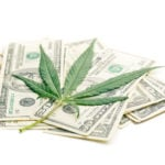 Methods for buying pot. Marijuana leaf on a pile of money.