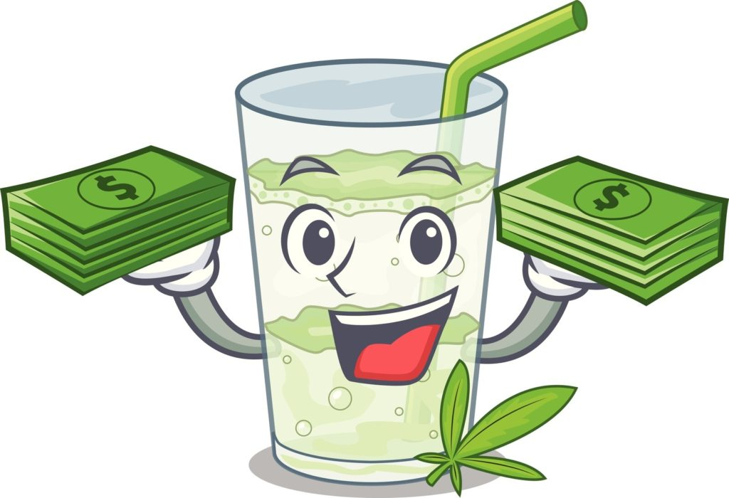 Best marijuana payment method for anonymity. A cartoon cup holding stacks of money with a marijuana leaf.