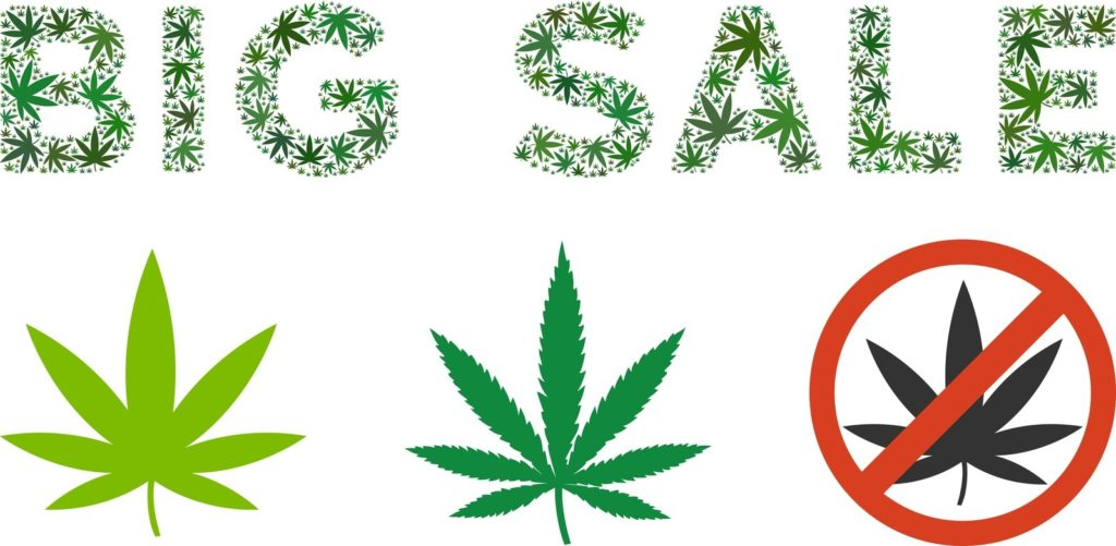 "Why Does Marijuana Cost More in Canada? Vector images of Marijuana Leaves and words, ""Big sale"""
