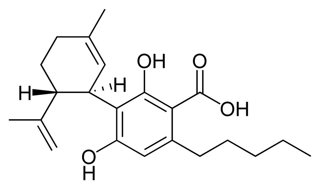 7 Health Benefits of CBDA. Chemistry diagram.