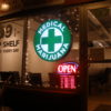 Curaleaf Sarasota Marijuana Dispensary Guide. Medical marijuana sign on store front.