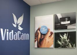 VidaCann Orlando dispensary logo on blue wall with pictures of marijuana.