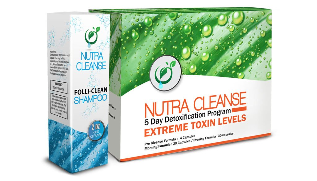 Nutra Cleanse Detox packages in white, blue and green.