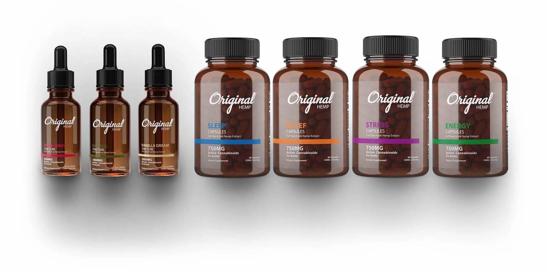 hemp cbd products in brown bottles, original hemp cbd