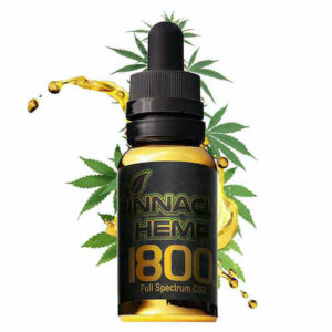 pinnacle hemp CBD oil with marijuana leaves on white background