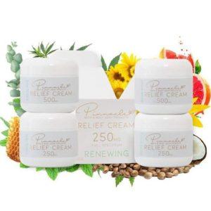 premium hemp cbd relief cream stacked on top of each other